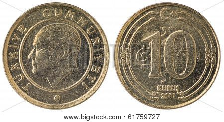 10 Turkish Kurus Coin, 2011, Both Sides