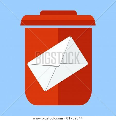 junk mail -letter and trash can