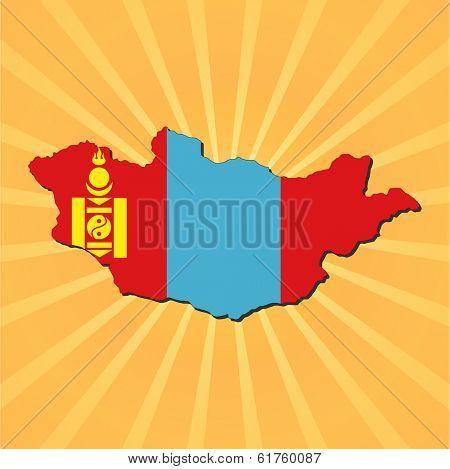 Mongolia map flag on sunburst illustration