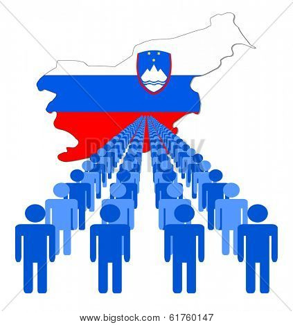 Lines of people with Slovakia map flag vector illustration