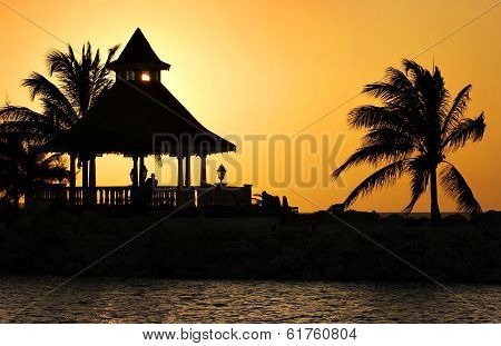 A Silhouette of Gazebo at Sunset