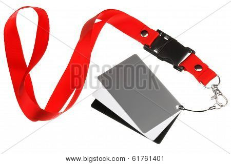 White balance cards on a red ribbon