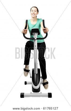 Slim Brunette Trains On Velosimulator