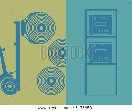 Logistics. Elements. Forklift, Rollers, Shelf And Boxes