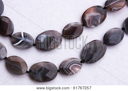 Necklace Of Brown Stone Beads