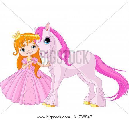 The beautiful princess and cute unicorn