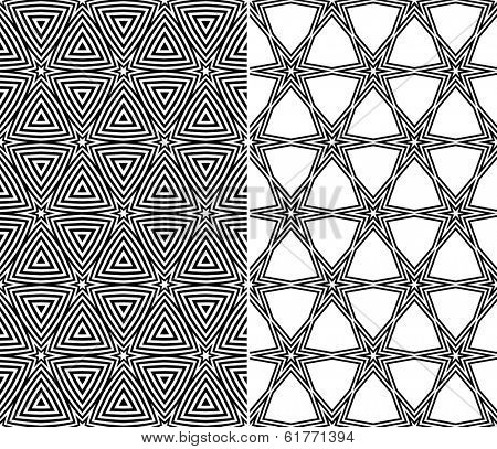 Set of Two Seamless Starry Patterns. Rasterized Version