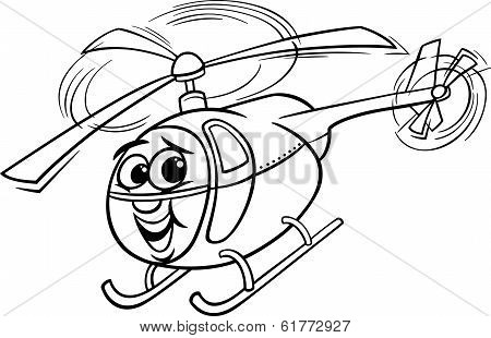 Helicopter Cartoon For Coloring Book