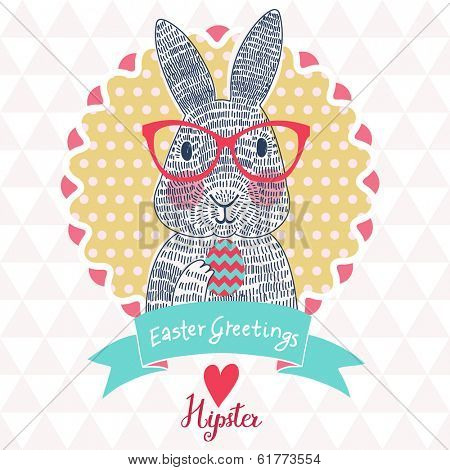 Funniest Easter card in vector. Cute rabbit hipster in cartoon style on modern seamless pattern