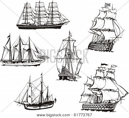 Sketches Of Sailing Boats