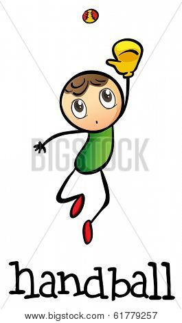Illustration of a stickman playing handball on a white background