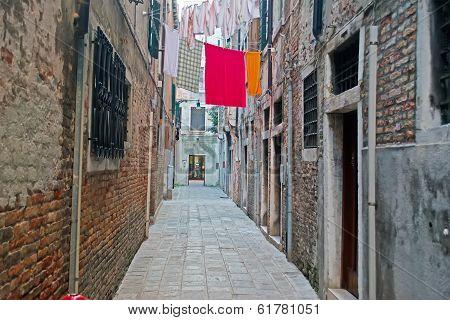 Narrow Backstreet In Venice