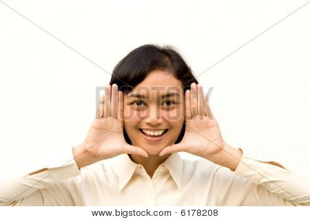 Young Woman Framing Face with Hands