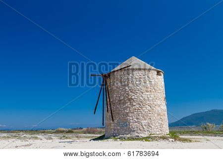Windmill at Gyra beach, Lefkada, Greece
