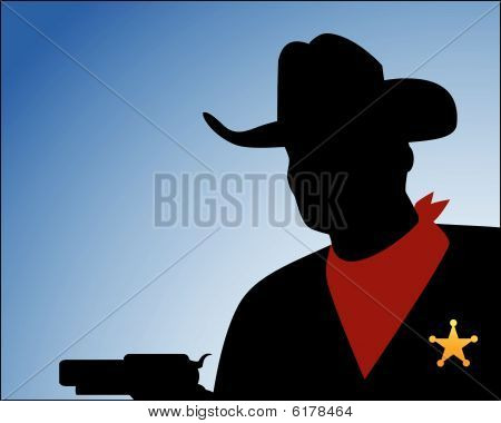 Cowboy Silhouette  With Gun Sheriff