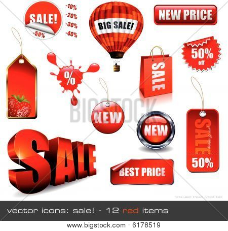 vector icons: Sale! - 12 red items