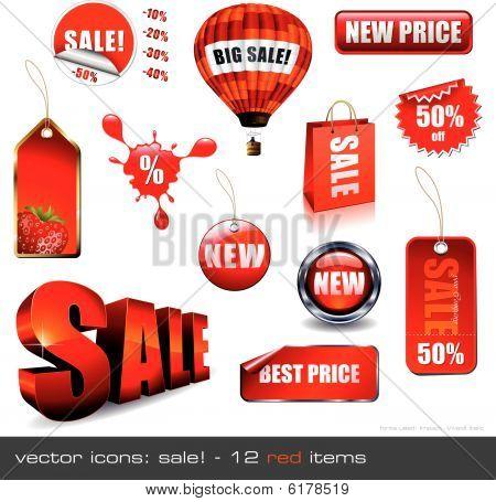 Vektor-Icons: Verkauf! 12 roten Artikel