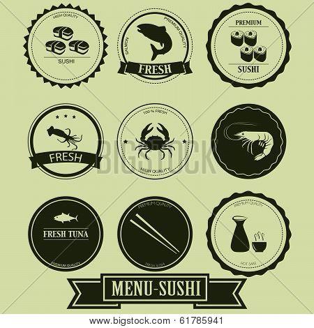 Menu Sushi Label Design