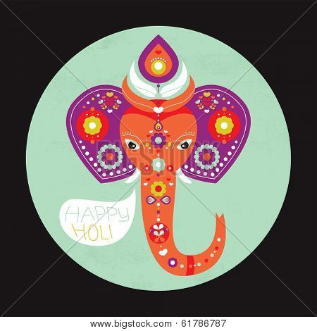 Happy Holi elephant spring celebration Indian holiday template postcard cover design in vector