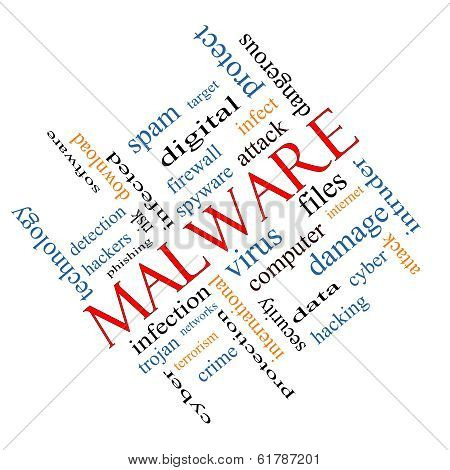 Malware Word Cloud Concept Angled
