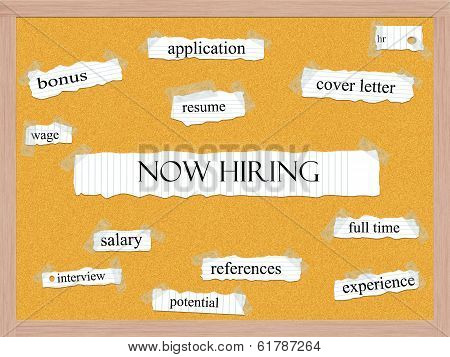 Now Hiring Corkboard Word Concept
