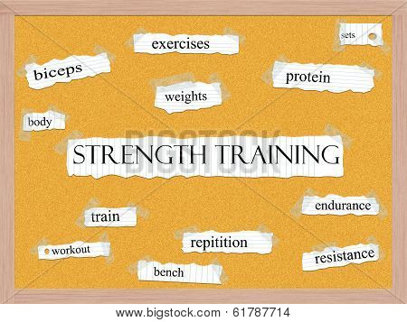 Strength Training Corkboard Word Concept