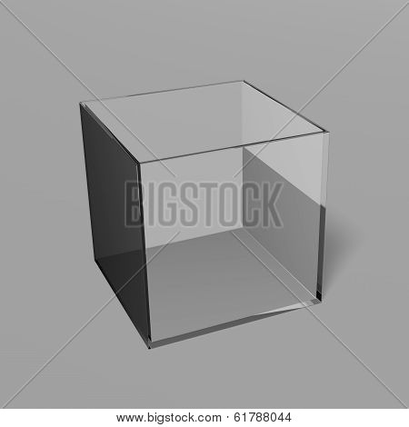 Empty Gray Glass Box