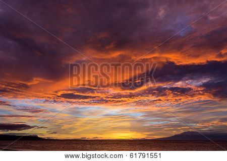 Dramatic fiery orange sunset in Siquijor in the Philippines with a mangrove tree silhouetted against the glowing horizon under heavy stormy cloud cover