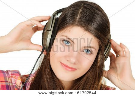 the portrait of girl that holds hands headsets