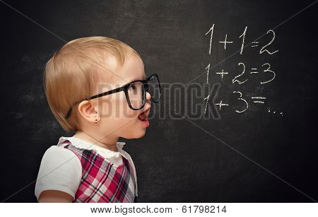 Funny Girl Pupil Solves Arithmetic Examples On Blackboard