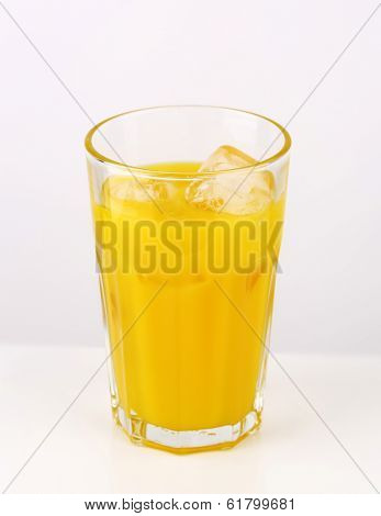 big glass of juice with ice cubes