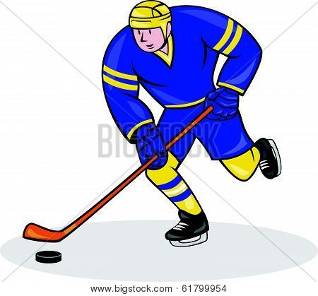 Ice Hockey Player Side With Stick Cartoon