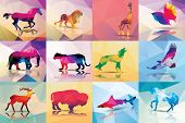 Collection of geometric polygon animals, patter design, vector illustration poster