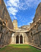 stock photo of templar  - Palace of the Knights Templar in the small town of Tomar - JPG