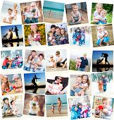 foto of polaroid  - collage of family polaroid photos indoors and outdoors - JPG