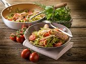 foto of norway lobster  - green tagliatelle with norway lobster - JPG