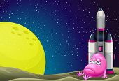 stock photo of outerspace  - Illustration of a sad monster beside the rocket in the outerspace - JPG