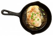 stock photo of swordfish  - Swordfish Baked in Skillet with Butter Ginger Green Onion Sauce - JPG