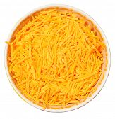 Bowl of Shredded Cheddar Over White Background