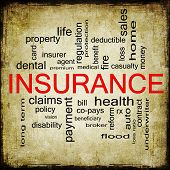 stock photo of fire insurance  - Grunge textured Insurance Word Cloud Concept with great terms such as and more - JPG