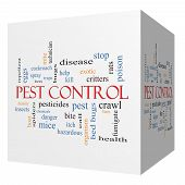 Pest Control 3D Cube Word Cloud Concept