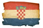 Croatia Flag Old, Isolated On White Background.