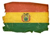 Bolivia Flag Old, Isolated On White Background.