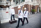 BANGKOK - JANUARY 21: Parade of the kings Guards, in the Grand Palace, Changing the Guard on January
