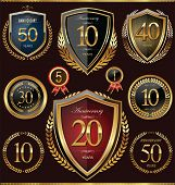 image of rosette  - Anniversary shield and laurel wreath retro collection - JPG