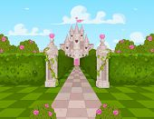 stock photo of alice wonderland  - Romantic Castle Landscape - JPG