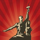 pic of communist symbol  - Soviet Worker and Collective Farmer with sickle and hammer in their hands vector illustration - JPG