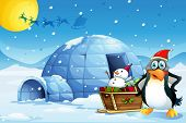 image of igloo  - Illustration of a penguin and the sleigh with a snowman near the igloo - JPG