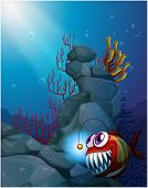 stock photo of piranha  - Illustration of a coral reef under the sea with a piranha - JPG