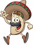 stock photo of sombrero  - Cartoon taco wearing a sombrero - JPG